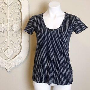 Caslon | Blue w/ White Design Short Sleeve Tee XS